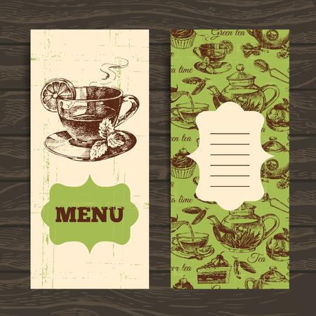 chamomile tea: Tea vintage banners. Hand drawn sketch illustration. Menu design