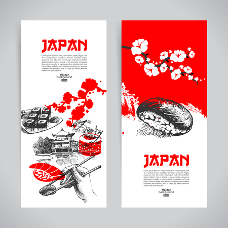 sushi: Set of Japanese sushi banners. Hand darwn sketch illustrations