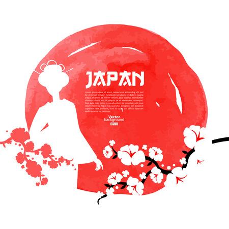 bandera japon: Dibujado a mano ilustraci�n japonesa de la cereza. Boceto y acuarela fondo de la plantilla
