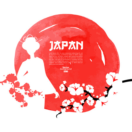 japanese flag: Hand drawn Japanese cherry illustration. Sketch and watercolor template background