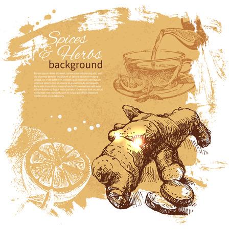 Vintage achtergrond met de hand getekende schets van kruiden en specerijen. Menu ontwerp