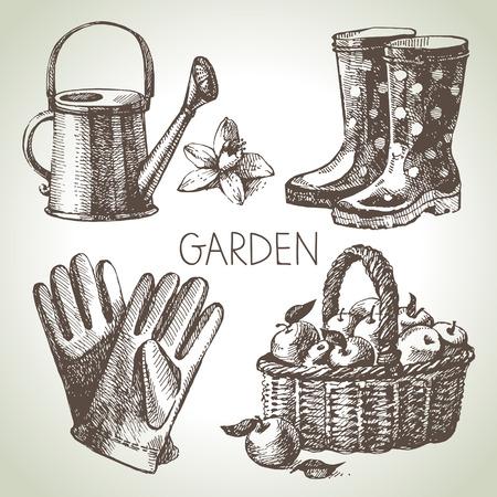 Sketch gardening set. Hand drawn design elements Vector Illustration