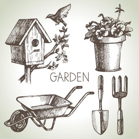 rake: Sketch gardening set. Hand drawn design elements