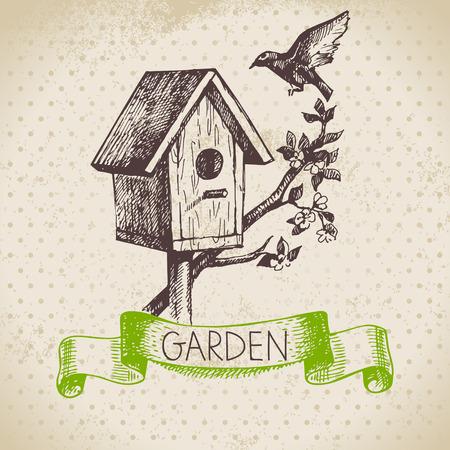 birdhouse: Vintage sketch gardening background. Hand drawn design