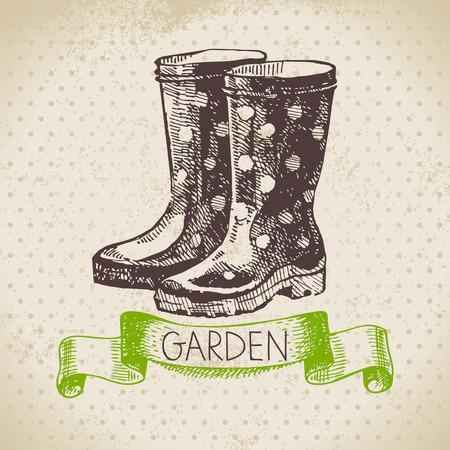 wellies: Vintage sketch gardening background. Hand drawn design