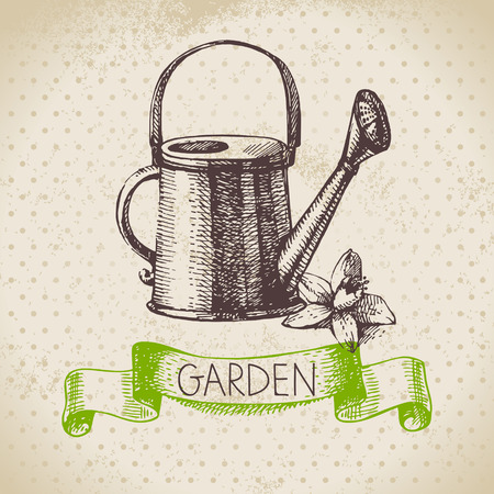 watering garden: Vintage sketch gardening background. Hand drawn design Illustration