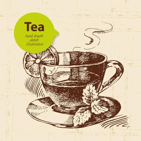 Tea vintage background. Hand drawn sketch illustration. Menu design  Ilustração