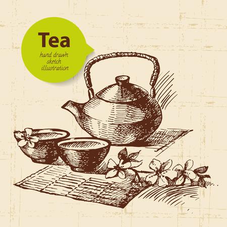 tea kettle: Tea vintage background. Hand drawn sketch illustration. Menu design