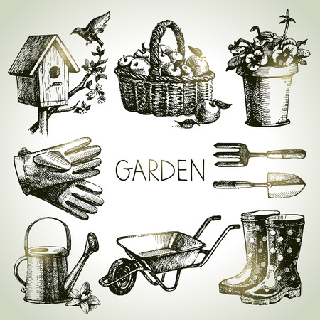 gardening equipment: Sketch gardening set. Hand drawn design elements