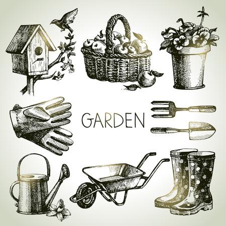 gardening    equipment: Sketch gardening set. Hand drawn design elements