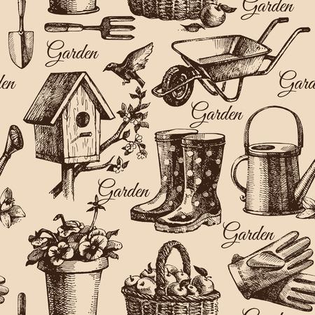 carretilla: Dibuje la jardinería sin patrón. Dibujado a mano ilustración Vectores