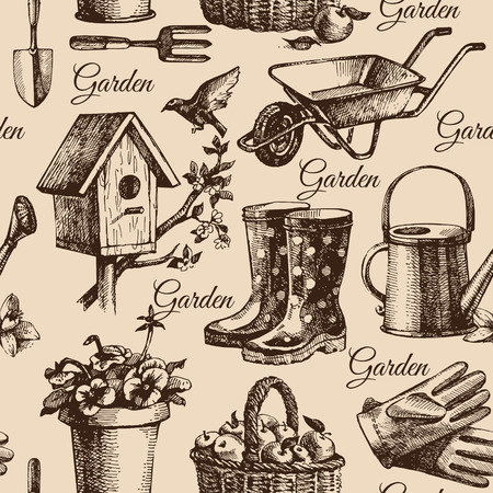 agricultural tools: Sketch gardening seamless pattern. Hand drawn illustration