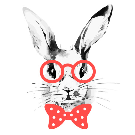Hipster rabbit. Hand drawn watercolor sketch portrait