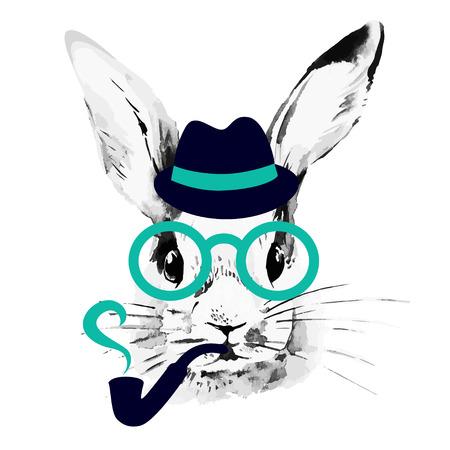 Conejo Hipster. Dibujado a mano acuarela boceto retrato Foto de archivo - 28015032