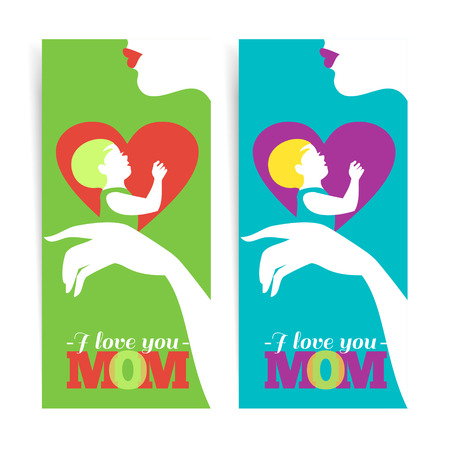 babysit: Happy Mothers Day. Banners of beautiful silhouette of mother and baby in heart