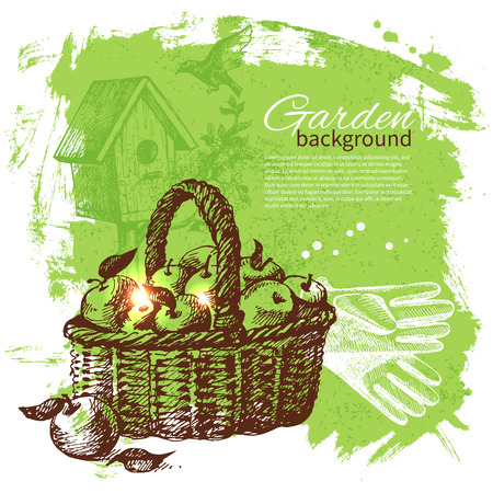 Vintage sketch gardening background. Hand drawn design 向量圖像