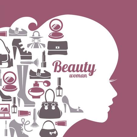 Fashion beautiful woman silhouette. Shopping icons set Vector