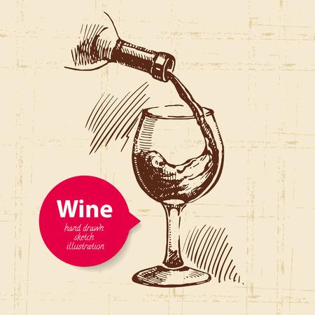バナーとワインのヴィンテージ背景。手描きのスケッチ図  イラスト・ベクター素材