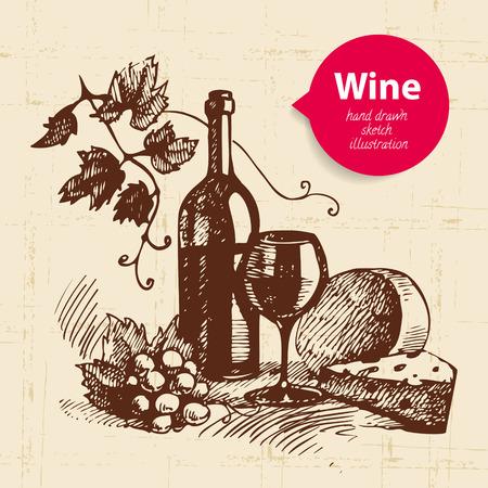 Wine vintage background with banner. Hand drawn sketch illustration Vector