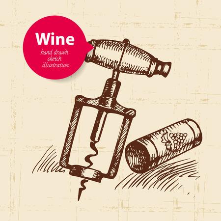 wine cork: Wine vintage background with banner. Hand drawn sketch illustration