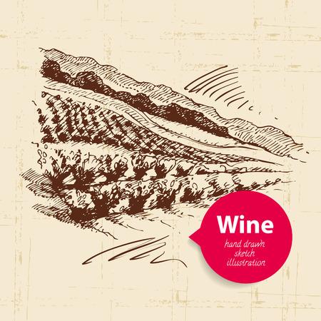 Wine vintage background with banner. Hand drawn sketch illustration of landscape Illustration