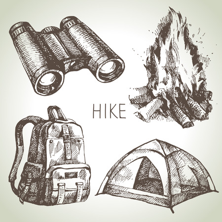 bonfire: Hike and camping hand drawn set. Sketch design elements