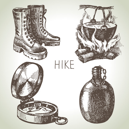 Hike and camping hand drawn set. Sketch design elements