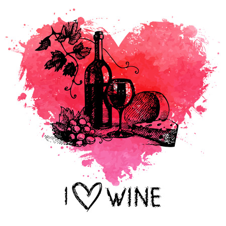 Wine vintage background with banner. Hand drawn sketch illustration with splash watercolor heart Vector