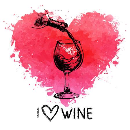 Fondo de la vendimia del vino con la bandera. Dibujado a mano ilustración dibujo con acuarela corazón splash