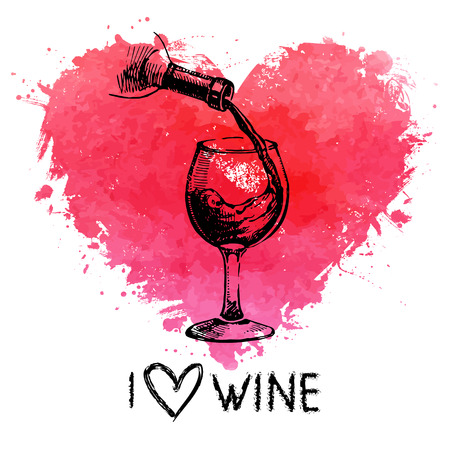 grunge bottle: Wine vintage background with banner. Hand drawn sketch illustration with splash watercolor heart