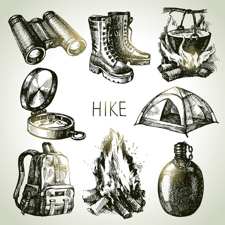 hiking boots: Hike and camping tourism hand drawn set. Sketch design elements