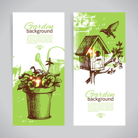 Set of sketch gardening banner templates. Hand drawn vintage illustrations  Vector