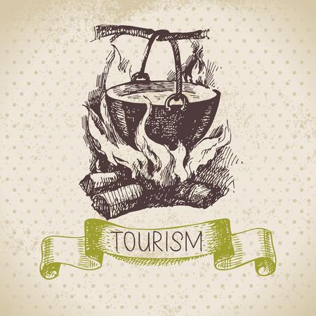 Vintage schets toerisme achtergrond. Wandelen en kamperen hand getrokken illustratie
