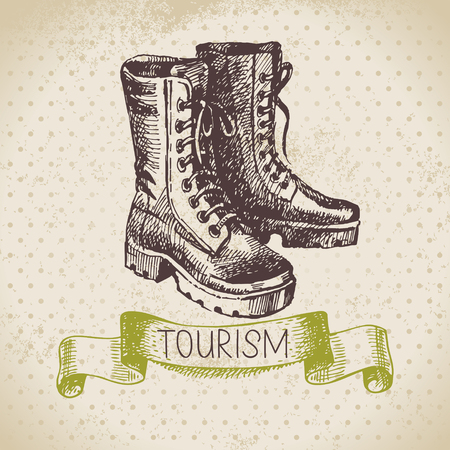 hiking boots: Vintage sketch tourism background. Hike and camping hand drawn illustration