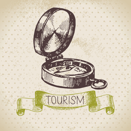 Vintage sketch tourism background. Hike and camping hand drawn illustration  Vector