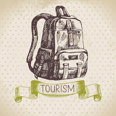 빈티지 스케치 관광 배경. 하이킹 및 캠핑 손으로 그린 그림