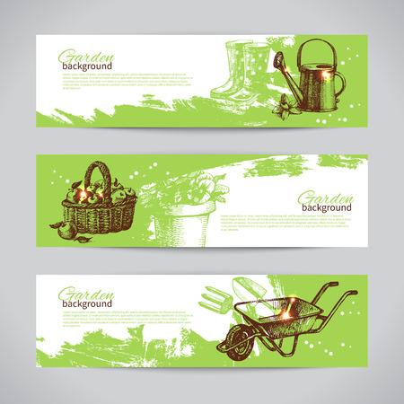 carretilla: Conjunto de plantillas de banner de jardinería boceto. Dibujado a mano ilustraciones de época