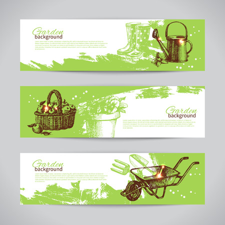 gardening equipment: Set of sketch gardening banner templates. Hand drawn vintage illustrations  Illustration