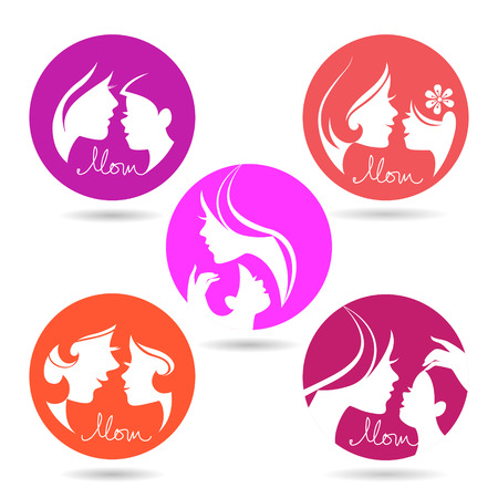 madre e figlio: Insieme dei simboli della madre e del bambino silhouette. Icone Buona Festa della Mamma Vettoriali