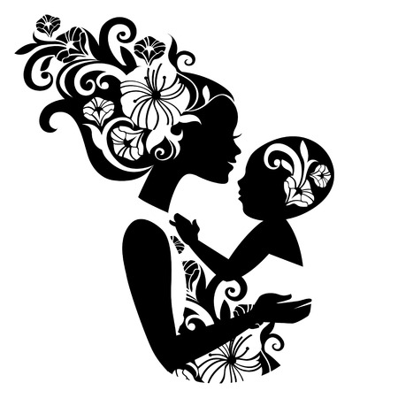retro lady: Beautiful mother silhouette with baby in a sling. Floral illustration Illustration