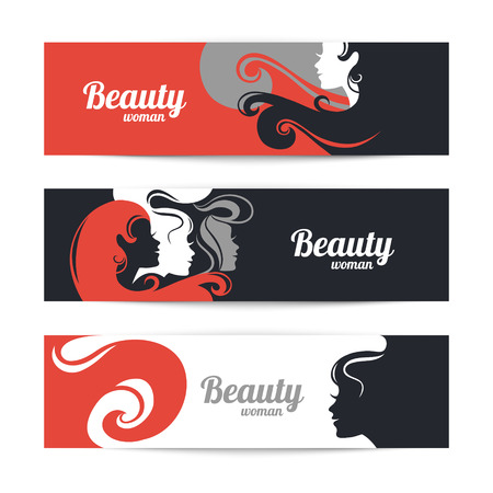 hair salon: Banners with stylish beautiful woman silhouette. Template design cards