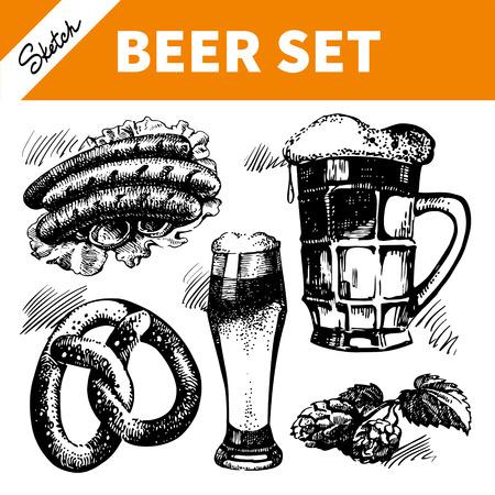 german sausage: Sketch Oktoberfest set of beer. Hand drawn illustrations  Illustration