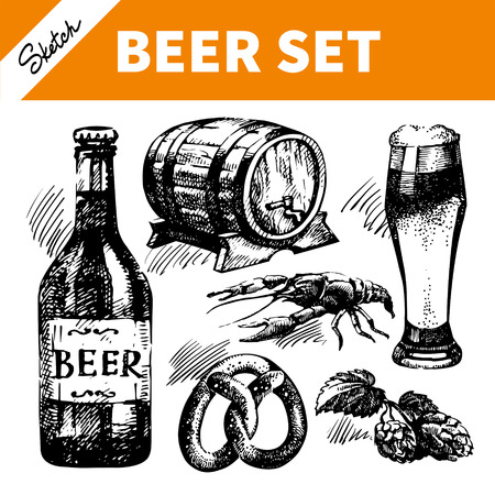 german beer: Sketch Oktoberfest set of beer. Hand drawn illustrations  Illustration