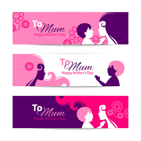 Banners for Happy Mothers Day. Beautiful mother with baby silhouettes  Vector