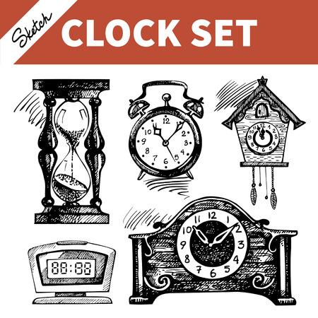 reloj cucu: Dibujado a mano conjunto de dibujos de relojes y relojes Vectores