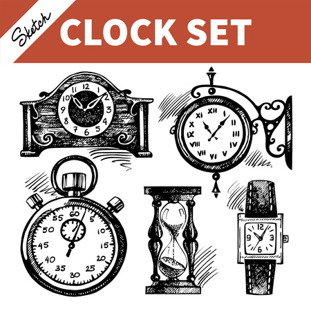 hour hand: Hand drawn sketch set of clocks and watches Illustration