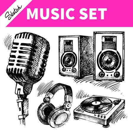 microfono antiguo: Equipo de música Sketch. Ilustraciones dibujadas a mano de iconos dj Vectores