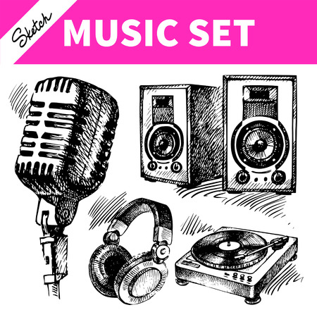 speakers: Set di musica Sketch. Illustrazioni disegnate a mano di icone Dj