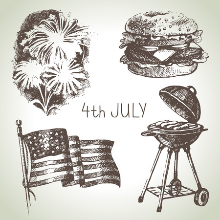 4th of July set. Hand drawn illustrations of Independence Day of America Vector