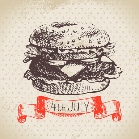 burger background: 4th of July vintage background. Independence Day of America hand drawn sketch design